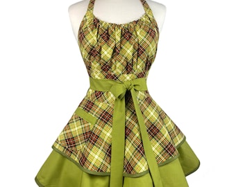 Womens Cute Retro Fall Plaid Apron - Personalized Gift for Wife - Sexy & Flirty Thanksgiving Apron - Custom Embroidered
