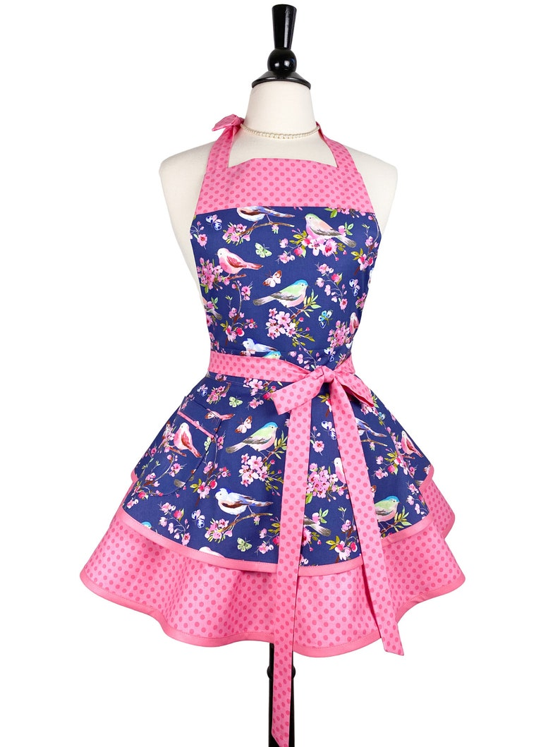 Womens Retro Pink Apron with Birds  Personalized Mothers Day image 0