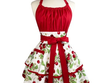 Sexy & Cute Retro Cherry Womens Apron - Personalized Gift for Wife, Girlfriend - Red Flirty Apron - Custom Embroidered
