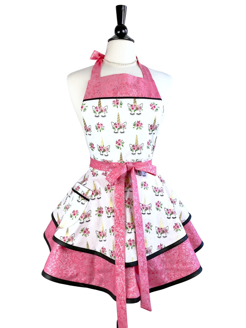 Personalized Cute Retro Apron with Pink Unicorns  Frilly & image 0