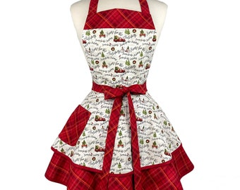 Cute Home For The Holiday Apron - Personalized Gift for Wife, Girlfriend - Womens Retro Christmas Apron - Custom Embroidered