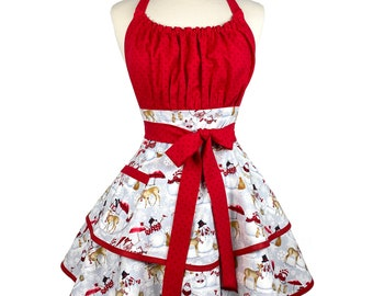 Womens Snowman Cute Christmas Apron - Personalized Gift for Girlfriend - Custom Embroidered Sexy Apron - Holiday Apron