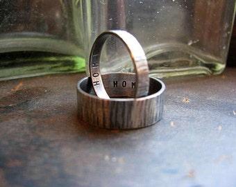 Tree Bark His & Hers Ring Set Wedding Anniversary Customizable