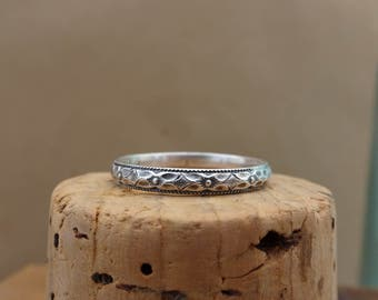 Oxidized Sterling Silver Stack Ring--Diamond Floral--Handcrafted--Sweet & Simple