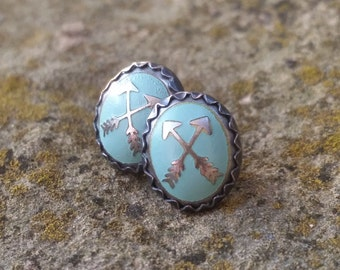 Crossed Arrows—Sterling Silver Post Earrings—Vintage Turquoise Arrow Cabochons--Gift Under 25