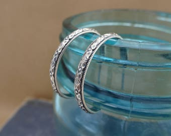 Oxidized Sterling Silver Hoop Earrings--Diamond Floral--Handcrafted--Dark Finish