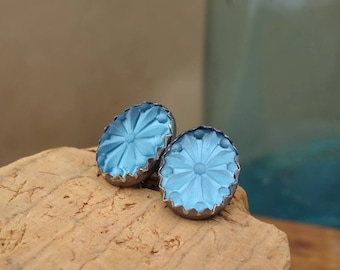Sterling Silver Starburst Earrings--Abilene—Vintage Glass Cabochons--Frosted Blue--Gift Under 25