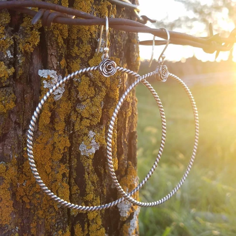 Dolly  Large Oxidized Sterling Silver Hoop image 0