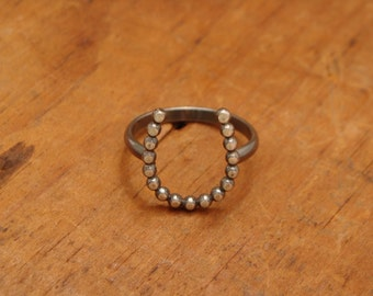Oxidized Sterling Silver Horseshoe Ring--Size 6--Just a Little Luck--Dotted--Handcrafted--Dark Finish
