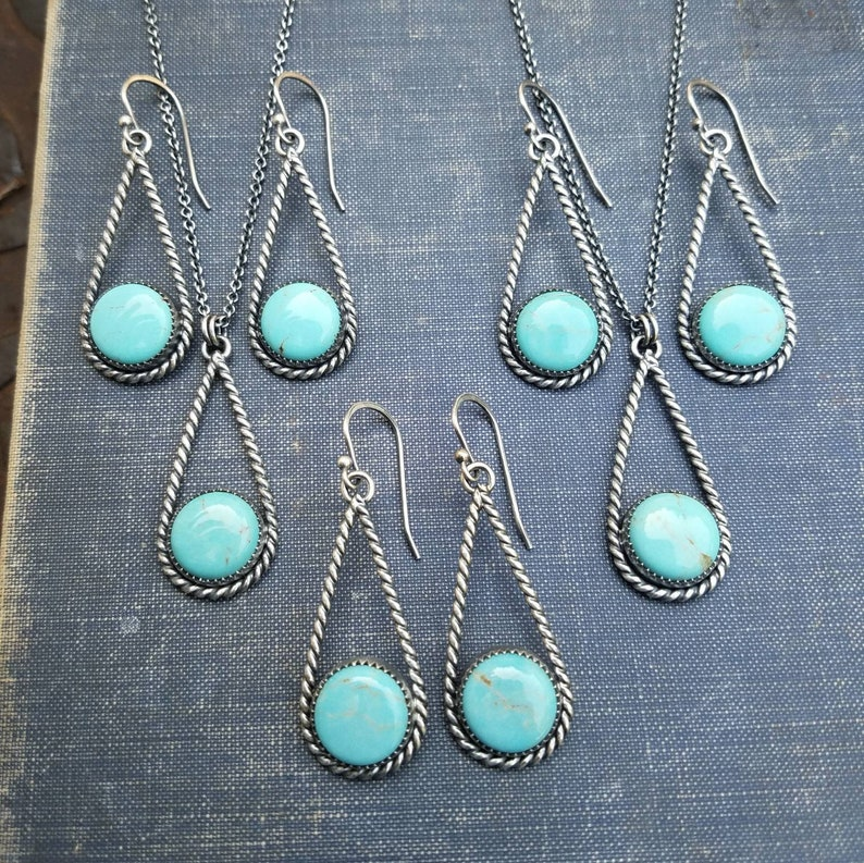Turquoise and Sterling Silver Teardrop Earrings or Necklace image 0