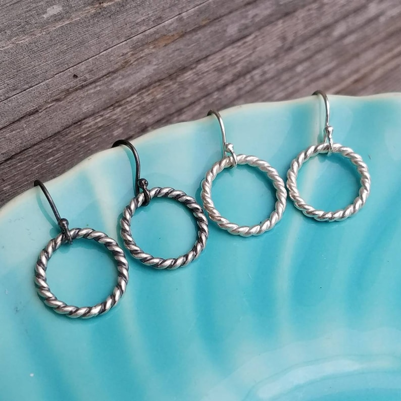 Tiny Sterling Silver Hoop Earrings  Bright or Oxidized image 0