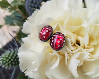 Little Ladies — Sterling Silver Ladybug Post Earrings — Vintage Glass Cabochons -- Ruby Red