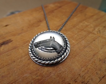 Brida--Sterling Silver Necklace featuring Vintage Glass Horse Cabochon--Handcrafted--Made to Order