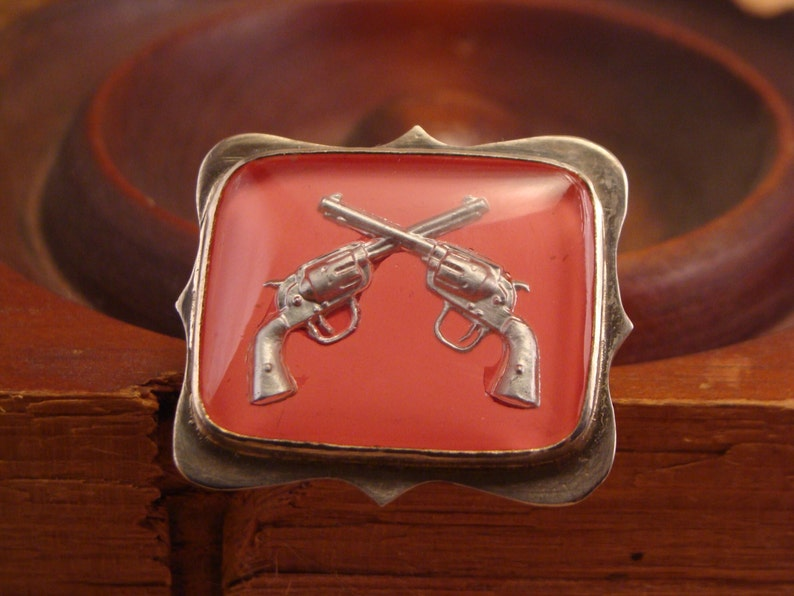 Pretty Pink Pistols RingSize 8Sterling Silver and Vintage image 0