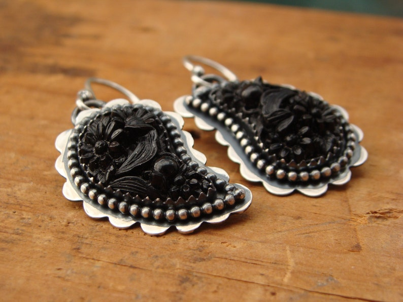 PaisleyOxidized Sterling Silver Earrings with Vintage Black image 0
