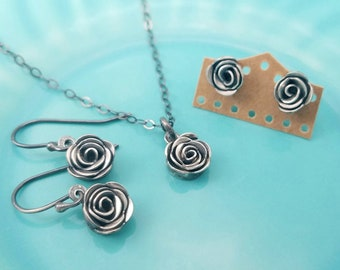 Luckstruck Signature Silver Roses -- Handcrafted -- Sterling Silver Rose Earrings, Necklace, or Set