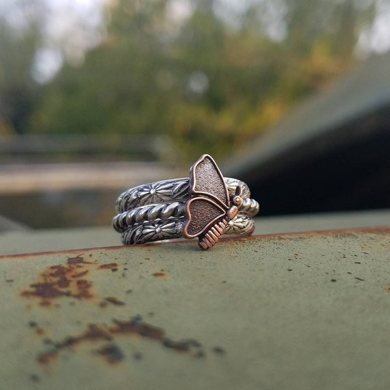 Copper /'70s Butterfly Kendra Handcrafted Oxidized Sterling Silver Stack Ring Set