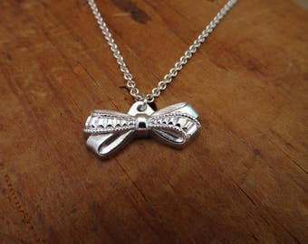 Ana--Sterling Silver and Vintage Glass Bow Necklace--Tiny Bow Necklace