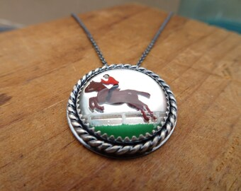 Ecuestre--Hunter Jumper--Equestrian--Sterling Silver Necklace featuring Vintage Glass Horse Cabochon--Handcrafted--Made to Order