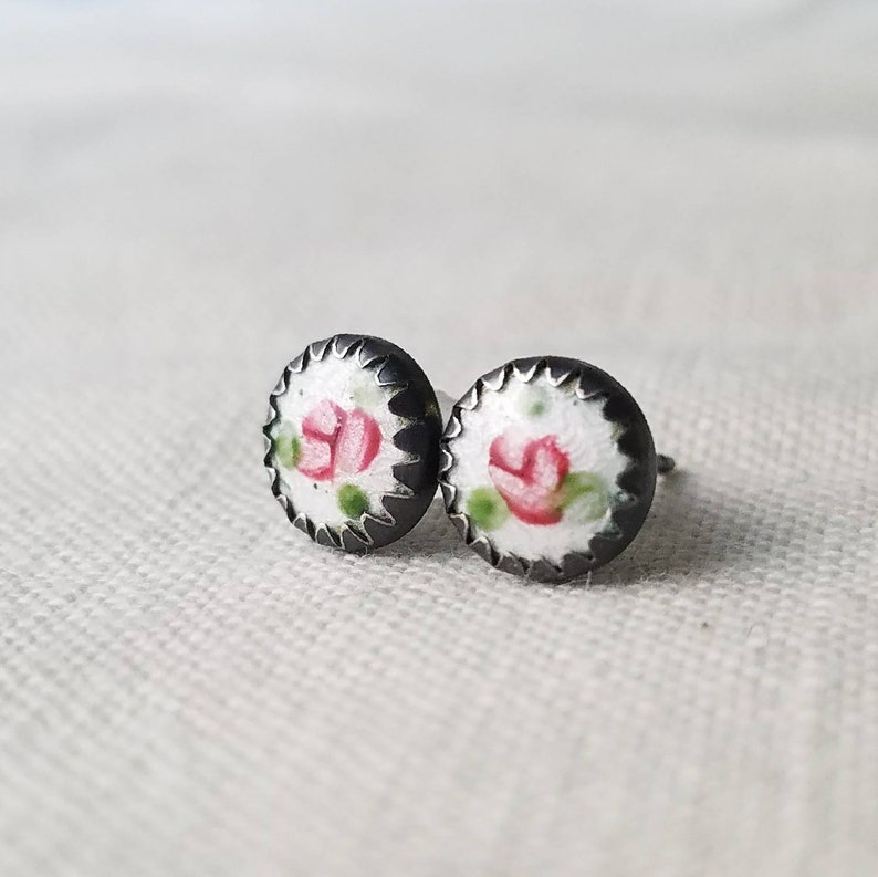 Rosebud  Sterling Silver Floral Post Earrings  Vintage image 0