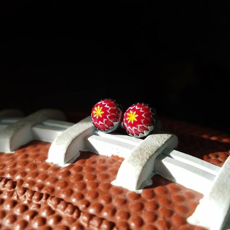 KCSterling Silver Starburst EarringsVintage Glass image 0