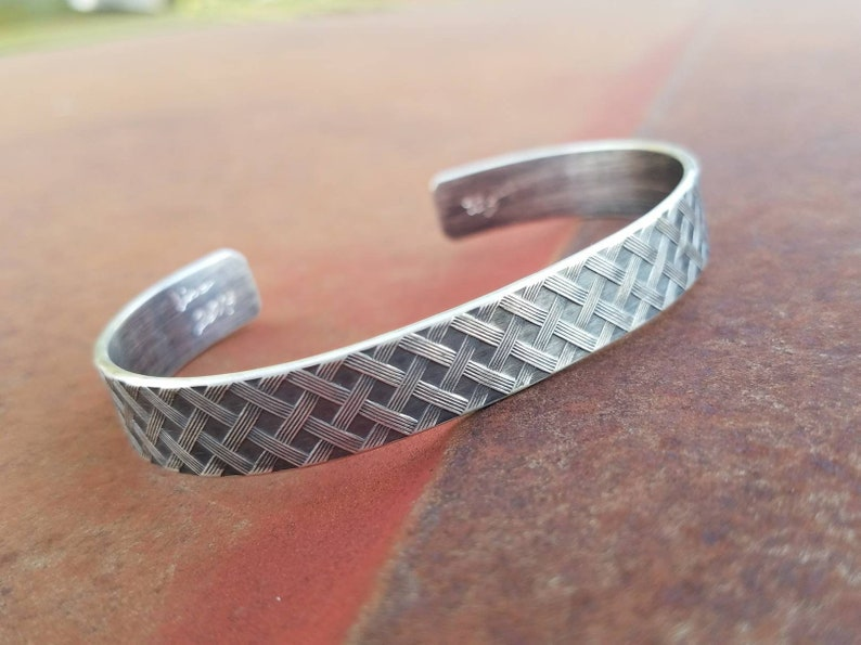 Sterling Silver Stacking Cuff Bracelet  Woven Pattern  image 0