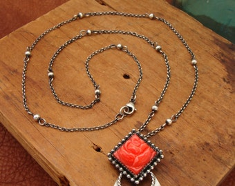 Willa--Sterling Silver and Vintage Glass Cabochon Necklace--Coral Rose and Feathers--Handcrafted