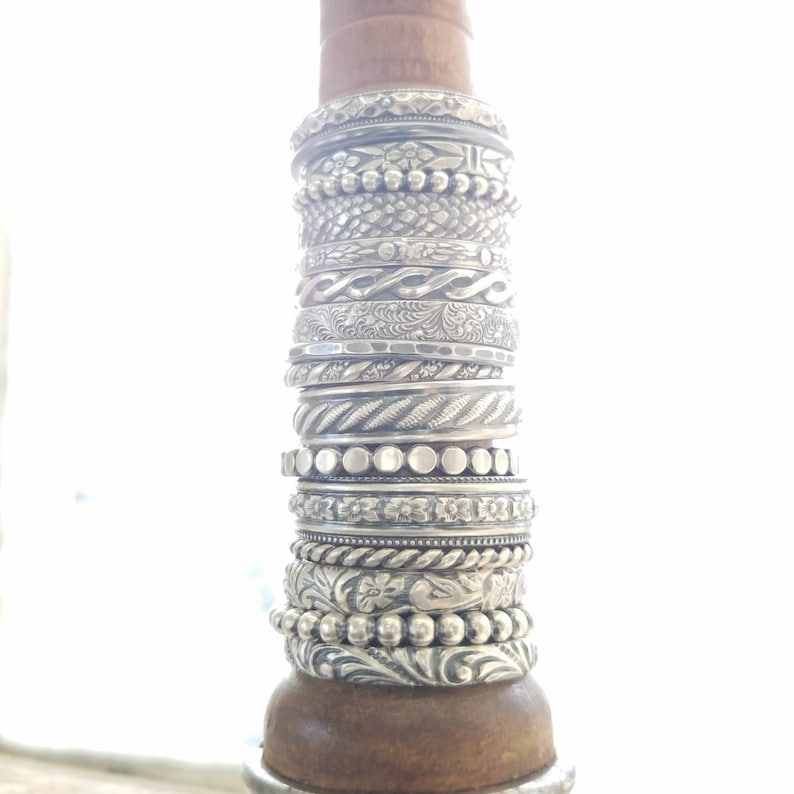 Sterling Silver Stacking Rings  Oxidized  Build Your Own image 0