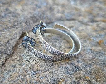 Kate Hoops -- Oxidized Sterling Silver Hoop Earrings -- Snakeskin -- Handcrafted -- Dark Finish