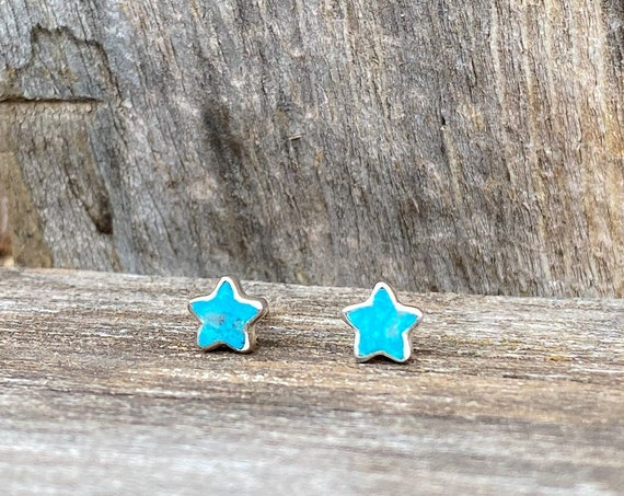 Tiny Star Stud Earrings in Turquoise