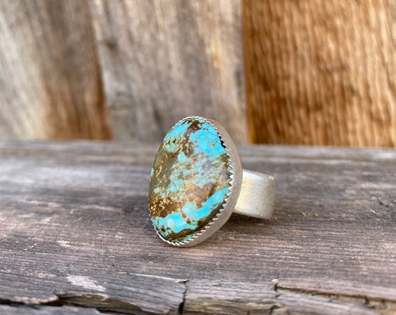 Sterling Silver & Pilot Mountain Turquoise Ring size 6.5