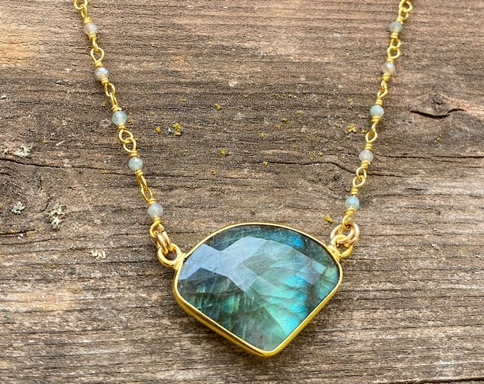 Gorgeous Labradorite Necklace with Moonstone Chain