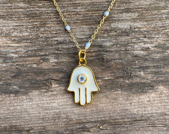 Moonstone, enamel & Gold Vermeil Hamsa Necklace