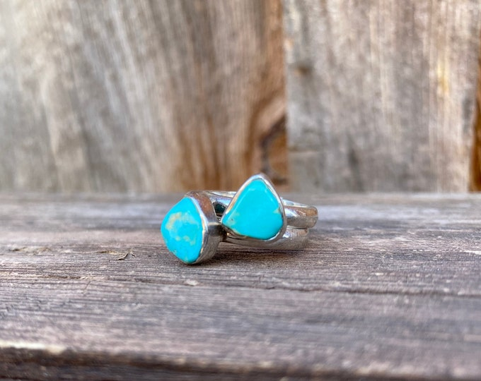 Free Form Turquoise & Sterling Silver Stacker Ring