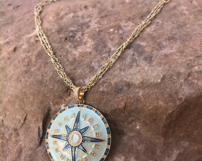 Stunning Diamond Compass Pendant on Moonstone Chain