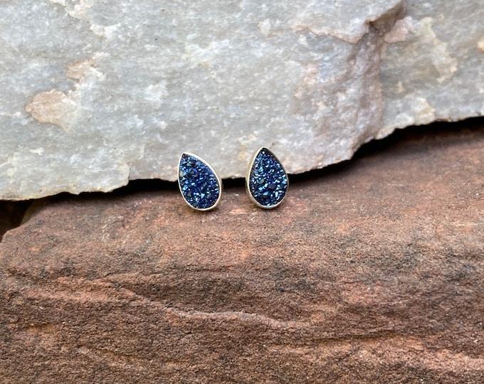Blue Druzy & Sterling silver  Stud Earrings