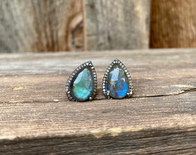 Stunning Labradorite & Diamond Teardrop Studs