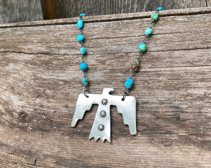 Sterling Silver Thunderbird Pendant on Sleeping Beauty Turquoise Chain