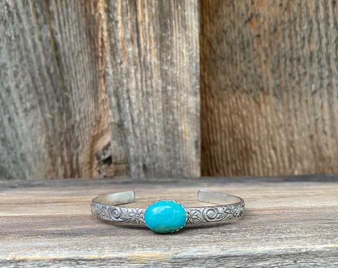 Chrysocolla Cuff Bracelet with Flower Detail