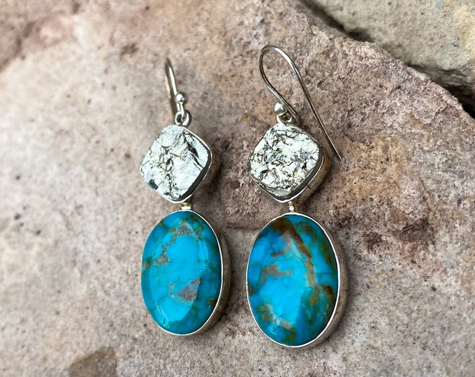 Pyrite & Turquoise Sterling Silver Drop Earrings