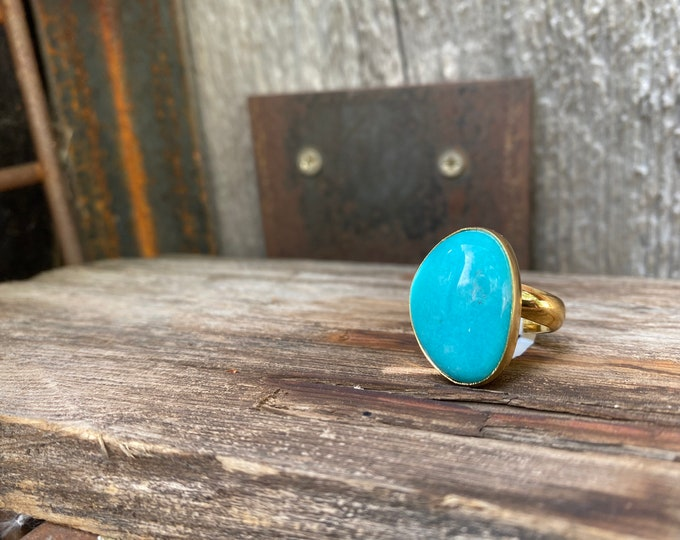Amazonite & Gold Alchemia Adjustable Ring