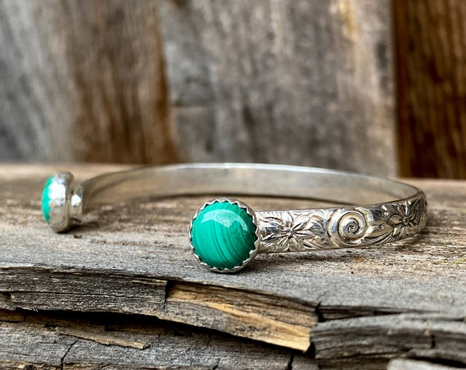 Double Malachite Cuff Bracelet with Flower Detail