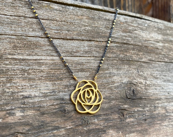 American Beauty Rose Gold Vermeil Necklace with Pyrite Chain