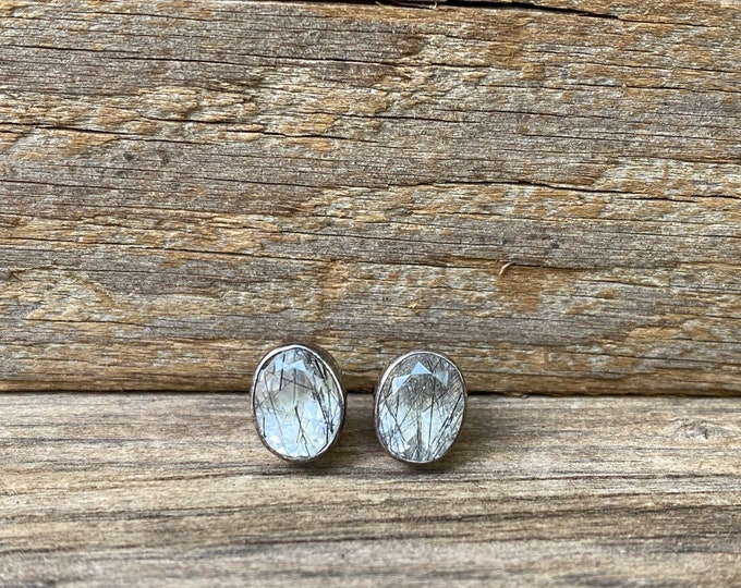 Tourmilated quartz and sterling silver Stud Earrings
