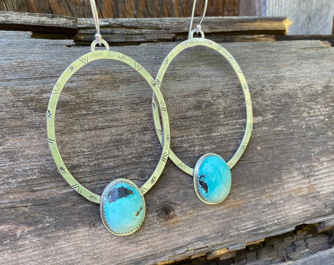 Sterling Silver Pattern Hoop Earrings with Turquoise