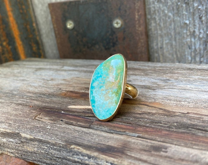 Kingman Turquoise  & Gold Alchemia Adjustable Ring