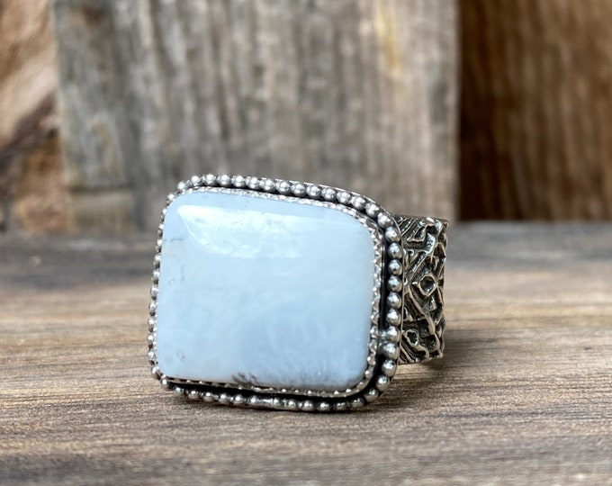 Size 8 Sterling Silver & White Buffalo Turquoise Rectangle Ring with Pattern Band