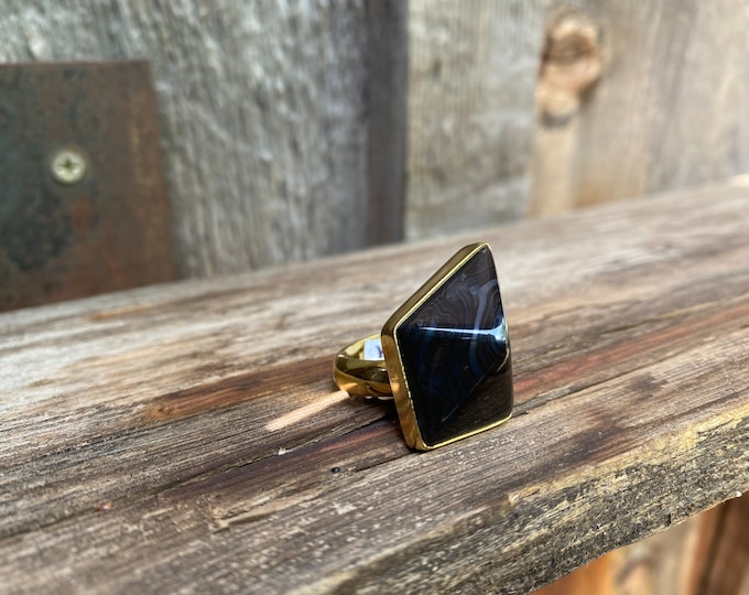 Dynamic Point-Cut Black Onyx & Gold Alchemia Adjustable Ring