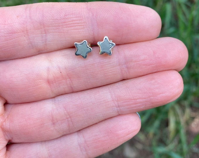 Tiny Moon Stud Earrings in Pyrite