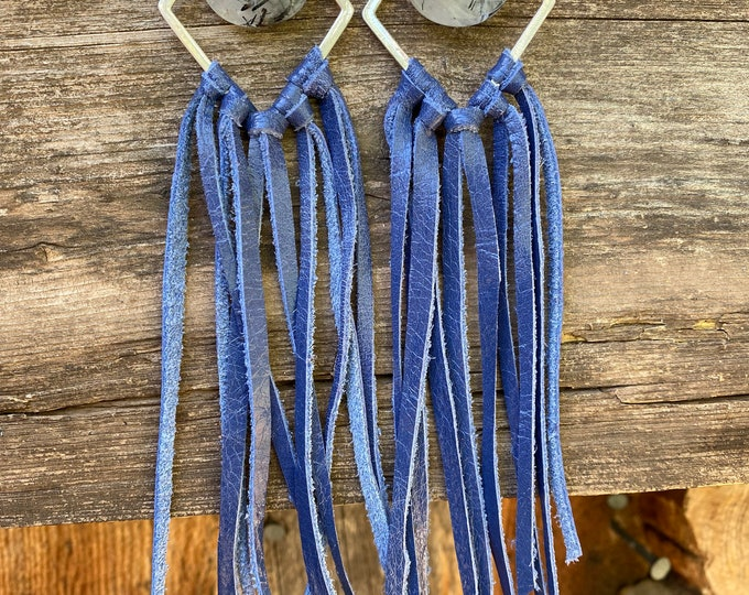 Blue Leather Fringe Earrings with Rutilated Quartz Crystal
